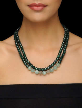 Aventurine Beaded Silver Necklace