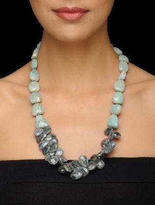 Aquamarine and Amazonite Beaded Silver Necklace