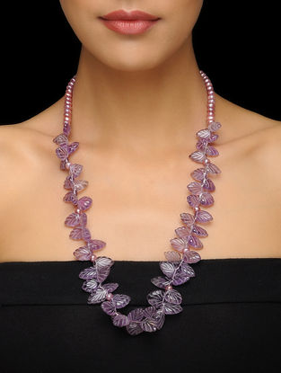 Amethyst and Pearl Beaded Silver Necklace