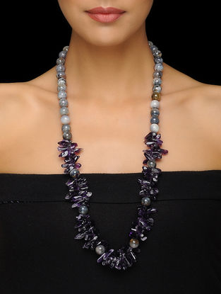 Amethyst and Merlinite Beaded Silver Necklace