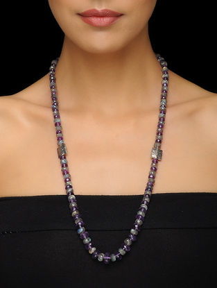 Amethyst and Labradorite Beaded Silver Necklace