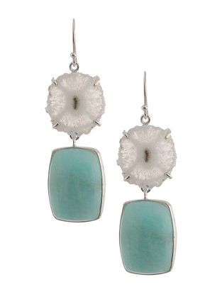 Quartz Geode and Amazonite Silver Earrings