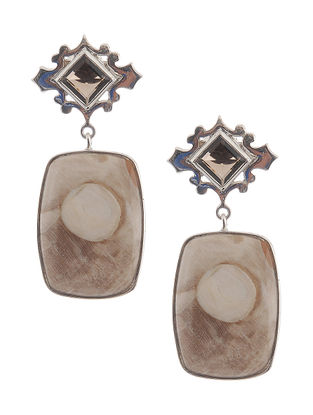 Peanut Wood and Smoky Quartz Silver Earrings