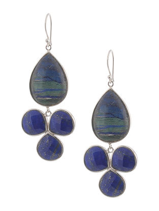 Azurite and Lapis Lazuli Silver Earrings
