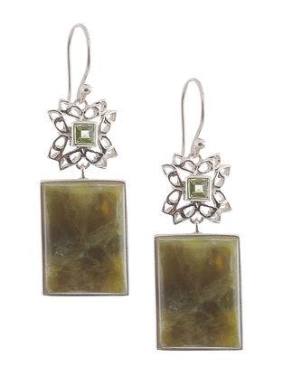 Hydrogrossular Garnet and Peridot Silver Earrings