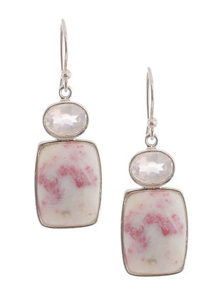 Cinnabar and Rose Quartz Silver Earrings