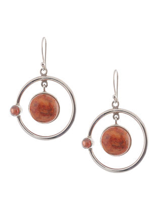 Sponge Coral and Garnet Silver Earrings