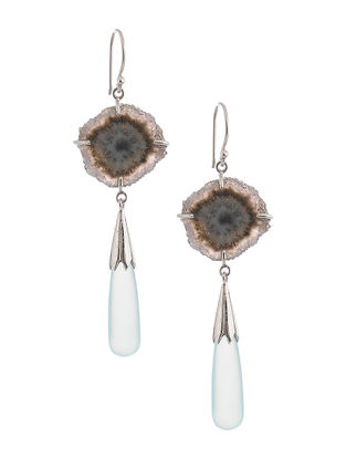 Quartz Geode and Chalcedony Silver Earrings