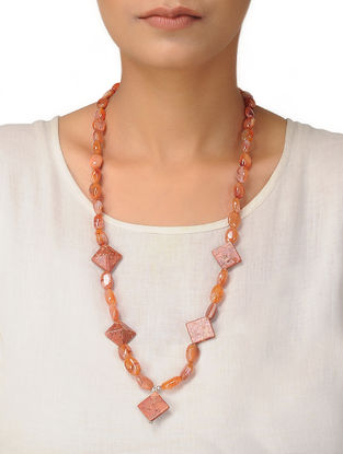 Carnelian and Sponge Coral Beaded Silver Necklace