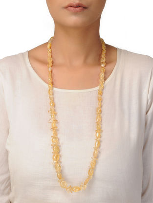 Citrine Beaded Silver Necklace
