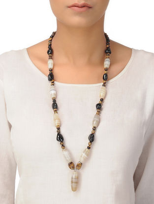 Agate and Smoky Quartz Beaded Silver Necklace