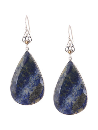 Lapis Lazuli and Citrine Silver Earrings