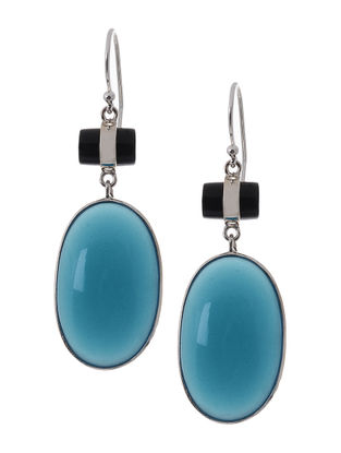 Chalcedony and Onyx Silver Earrings