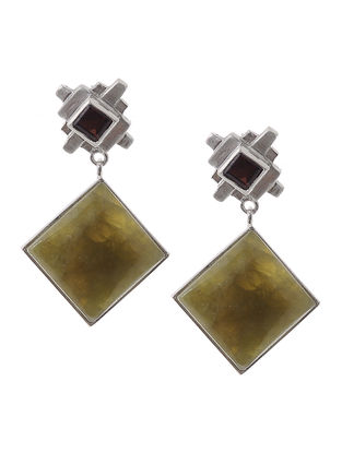 Hydrogrossular Garnet and Garnet Silver Earrings