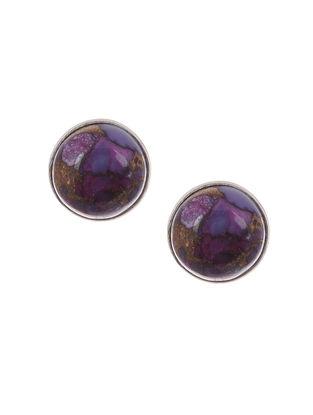 Purple Copper Turquoise Silver Earrings