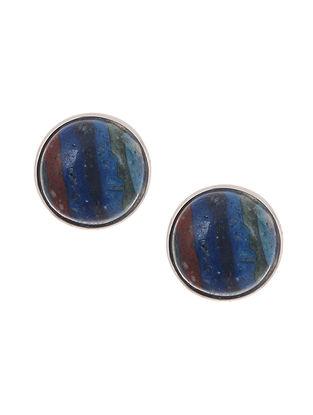 Rainbow Calsilica Silver Earrings