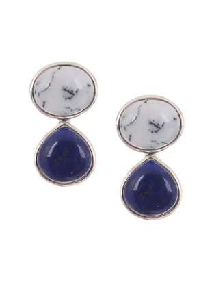 Dendritic Agate and Lapis Lazuli Silver Earrings