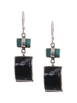Turquoise and Snowflake Obsidian Silver Earrings