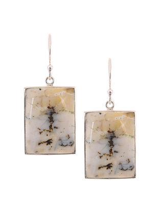 Dendritic Agate Silver Earrings