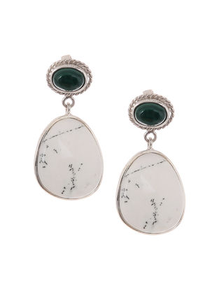 Dendritic Agate and Malachite Silver Earrings