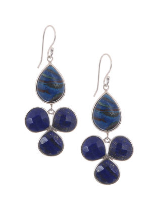Lapis Lazuli and Rainbow Calsilica Silver Earrings