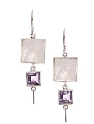 Rainbow Moonstone and Amethyst Silver Earrings