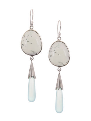 Dendritic Agate and Chalcedony Silver Earrings