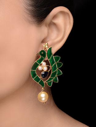 Green-Blue Enameled Gold Tone Earrings