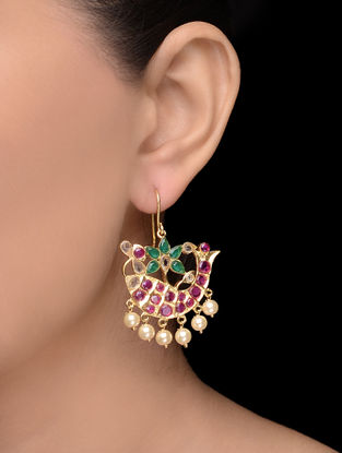 Pink-Green Pearl Gold Tone Earrings with Fish Design
