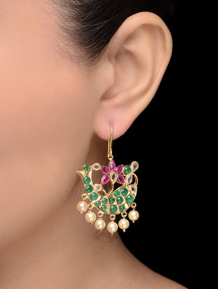 Purple-Green Gold Tone Pearl Earrings