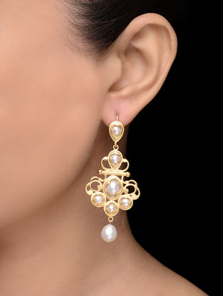 Gold Tone Pearl Earrings