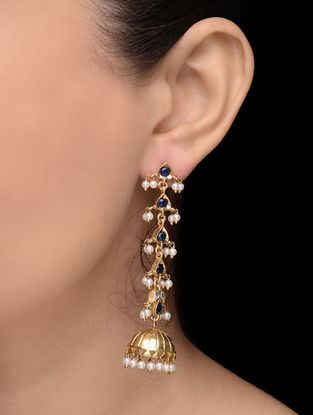 Blue Gold Tone Pearl Earrings