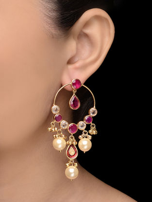 Purple Gold Tone Pearl Earrings