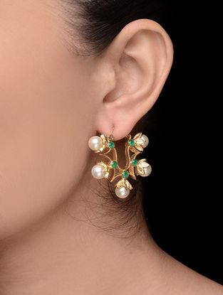 Green Gold Tone Pearl Earrings