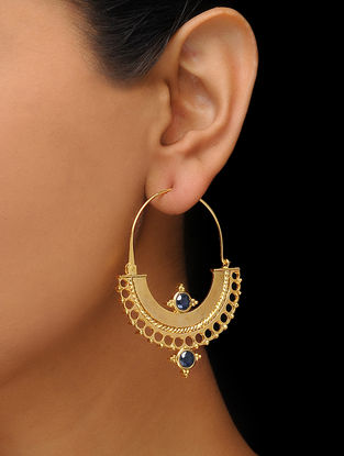 Blue Gold Tone Earrings