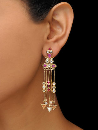 Pink-White Gold Tone Earrings