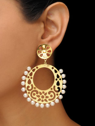 Classic Gold Tone Pearl Beaded Earrings