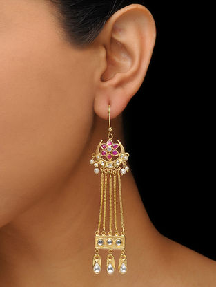 Pink Gold Tone Earrings