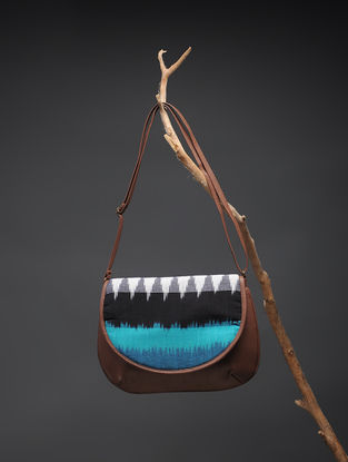 Brown-Blue Handcrafted Printed Cotton Sling Bag