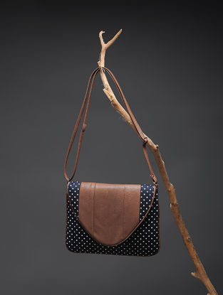 Blue-White Handcrafted Polka Dot Cotton Sling Bag