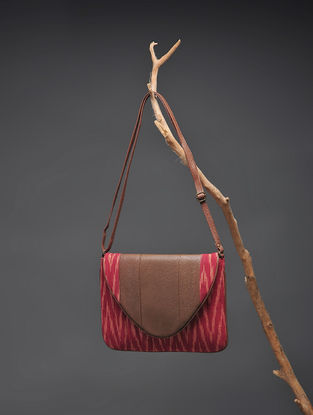 Brown-Red Handcrafted Ikat Cotton Sling Bag