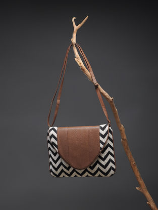 Brown-Black Handcrafted Printed Cotton Sling Bag