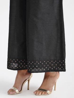 Black Tie-up Waist Cotton Silk Palazzos with Sequin Work