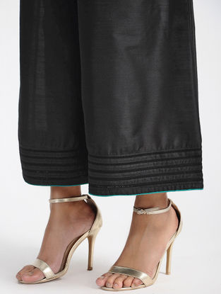 Black Tie-up Waist Cotton Silk Palazzos with Thread and Zari Detail