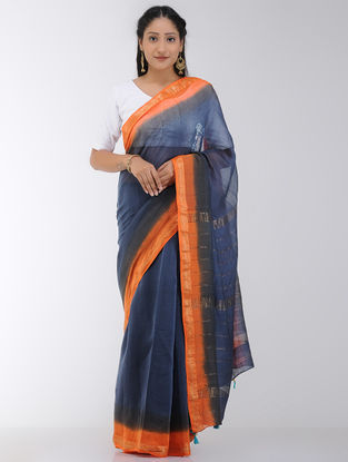 Blue-Orange Tie and Dyed Chanderi Saree with Tassels and Zari Border