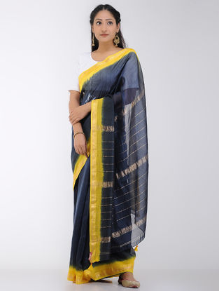 Black-Yellow Tie and Dyed Chanderi Saree with Zari Border