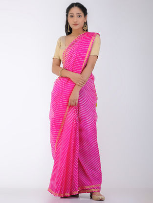 Pink Leheriya Kota Silk Saree with Zari Border