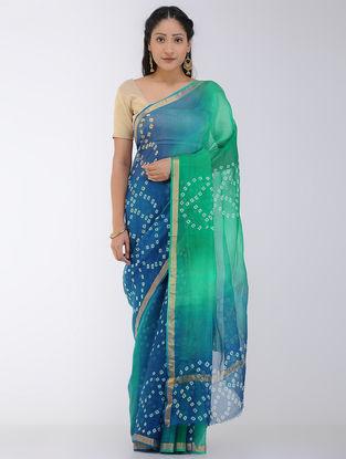 Green-Blue Bandhani and Ombre-dyed Kota Silk Saree with Zari Border