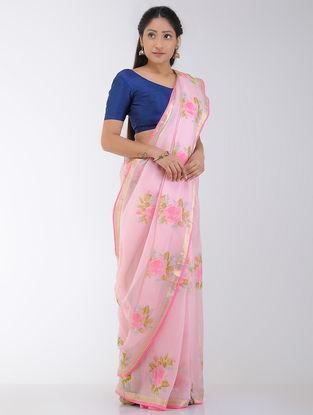 Pink-Green Block-printed Kota Silk Saree with Zari Border