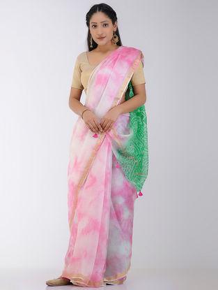 Pink-Green Marble-dyed Kota Silk Saree with Zari Border and Bandhani Pallu